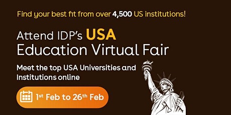 Attend IDP's USA Education Virtual Fair in Indore - 2nd Feb tickets