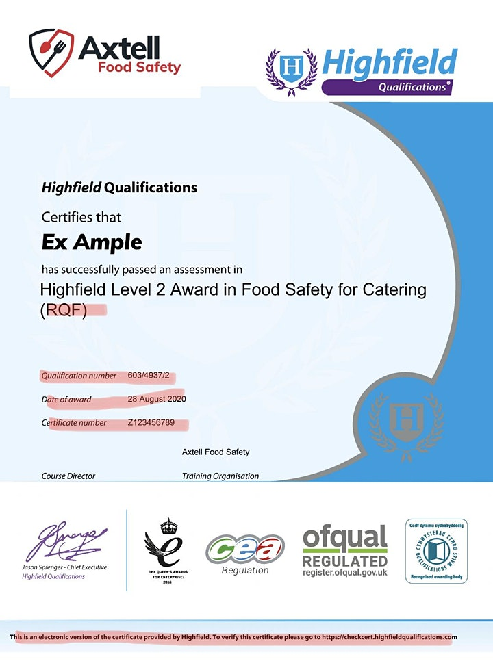Level 3 Award in Food Safety in Catering  -  7pm start time image
