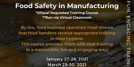 QA Level 2 Award in Food Safety for Manufacturing (RQF) tickets
