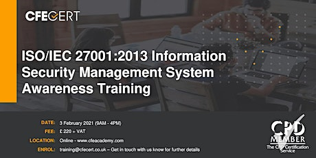 ISO/IEC 27001:2013 ISMS Awareness Training tickets