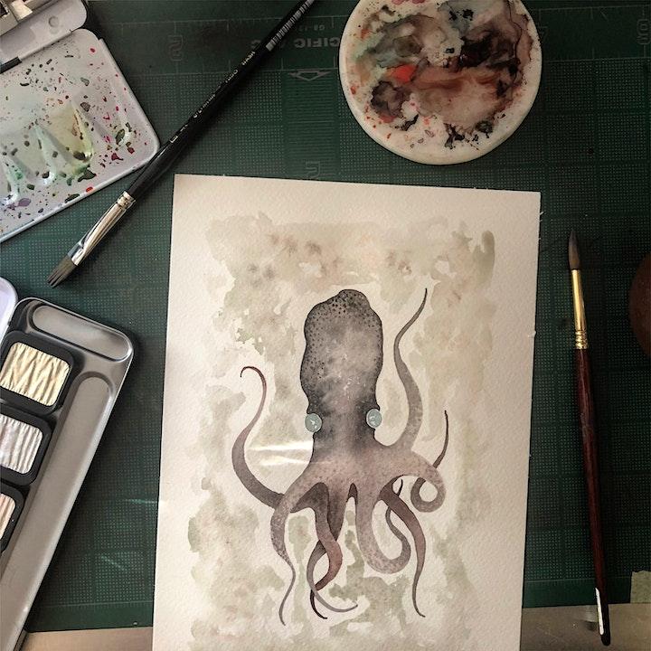 Zentangle® Meets Watercolor - Moody Octopus image