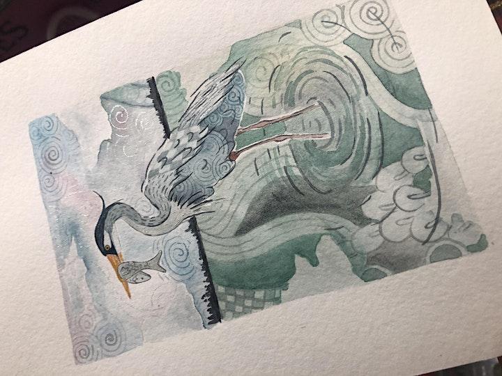 Zentangle® Meets Watercolor -  Great Blue Heron image
