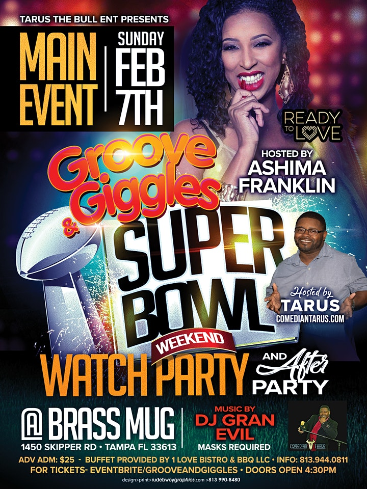 """""""Groove And Giggles"""" Superbowl Weekend Watch Party image"""
