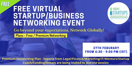 Free Virtual Startup / Business Networking Event tickets