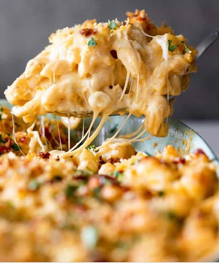 Crispy  Chicken Thighs w/ Garlic and Herbs PLUS  Seafood Mac & Cheese image