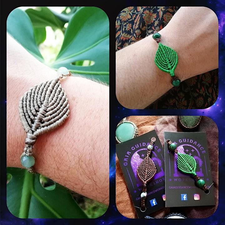 Macrame Crystal Leaf Bracelet image