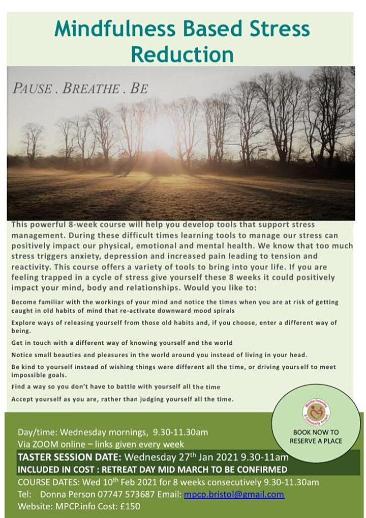 Mindfulness Based Stress Reduction Course image