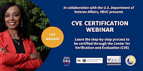 CVE Certification Webinar tickets