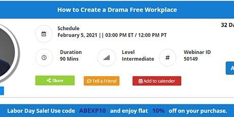 How to Create a Drama Free Workplace tickets