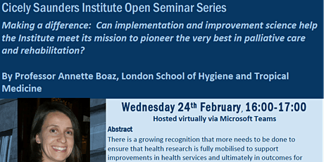 Cicely Saunders Institute Open Seminar Series: February 2021 Professor Boaz tickets