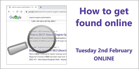 How to Get Found Online 2nd February, Online tickets