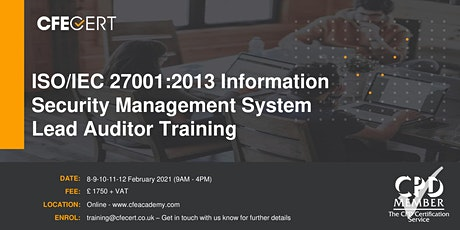 ISO/IEC 27001:2013 ISMS Lead Auditor Training tickets