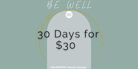 Virtual Yoga + Meditation - 30 Days for $30! ingressos