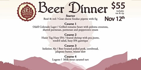 Odell Brewing - 4 beer, 2 wine, 5 course pairing dinner February 11th tickets