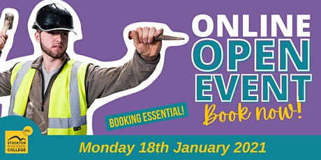 Stockton Riverside College Virtual Open Event - Monday18th  January tickets
