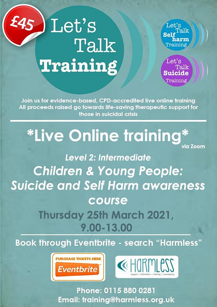 ONLINE Children & Young People Suicide and Self Harm training image