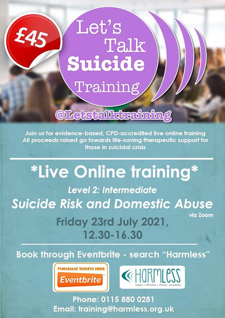 ONLINE Suicide Risk and Domestic Abuse level 2 (intermediate) training image