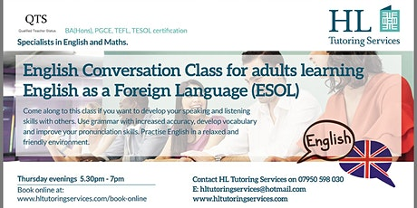 Winter 2 Online English Conversation Group Class for Adults ( E.S.O.L) X 5 tickets