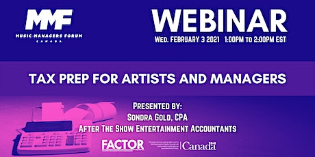 MMF CANADA WEBINAR: Tax Prep for Artists and Managers tickets