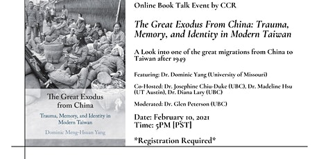 Book Talk - The Great Exodus from China tickets