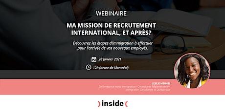 Ma mission de recrutement international, et après? billets