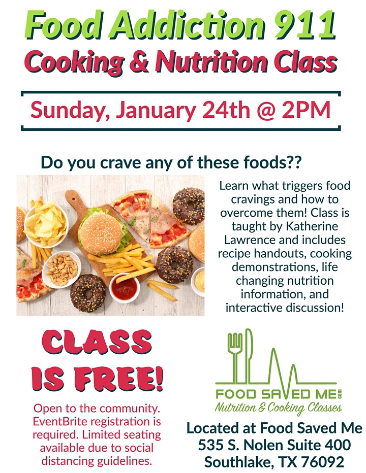 Food Addiction 911 - Nutrition & Cooking Class image