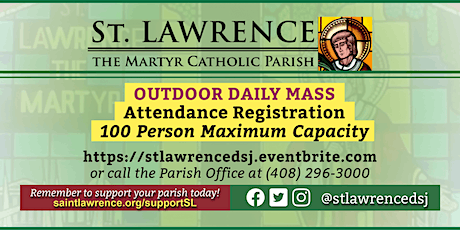 TUESDAY, January 19, 2021 @ 8:30 AM DAILY Mass Registration tickets