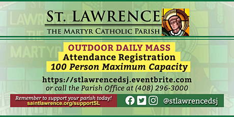 WEDNESDAY, January 20, 2021 @ 8:30 AM DAILY Mass Registration tickets