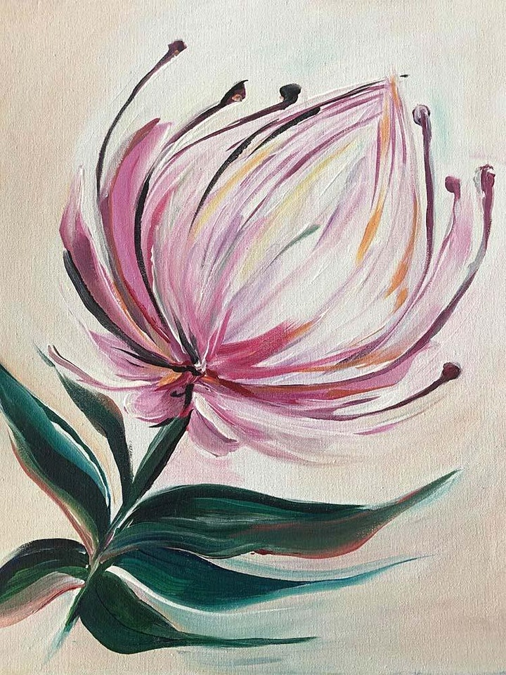 Rose and Renoir paint and sip classes- King Protea image