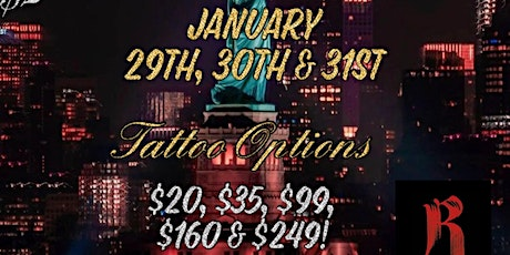 FLASH FRIDAY $20 & UP  TATTOO SALE $35 $99 $160 AND $249 TATTOO OPTIONS tickets