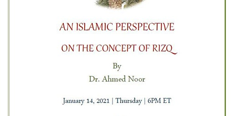 Reflection Talk Series   AN ISLAMIC PERSPECTIVE ON THE CONCEPT OF RIZQ tickets