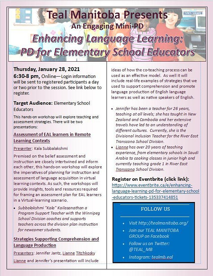 Enhancing Language Learning:  PD for Elementary School Educators image