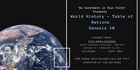World History - Table of Nations - Genesis 10 tickets