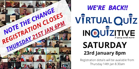 Saturday Virtual Quiz  23rd January 2021 tickets