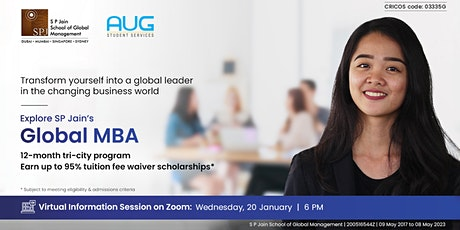 [FREE Virtual Info Session] Study Global MBA with SP Jain tickets