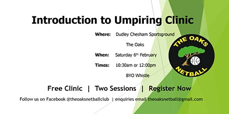 Introduction to Umpiring Clinic  - Two Sessions 10.30am & 12noon tickets