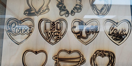 Wooden Hearts Ornament KIT, laser, holiday, make and take, Valentine's Day tickets