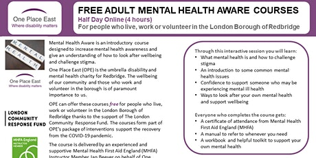Adult Mental Health Aware Course - 05.03.2021 tickets