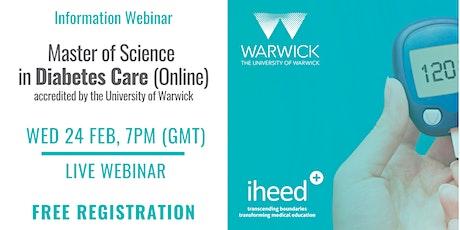 MSc Diabetes: University of Warwick - Info Webinar - IE/UK Feb 2021 tickets