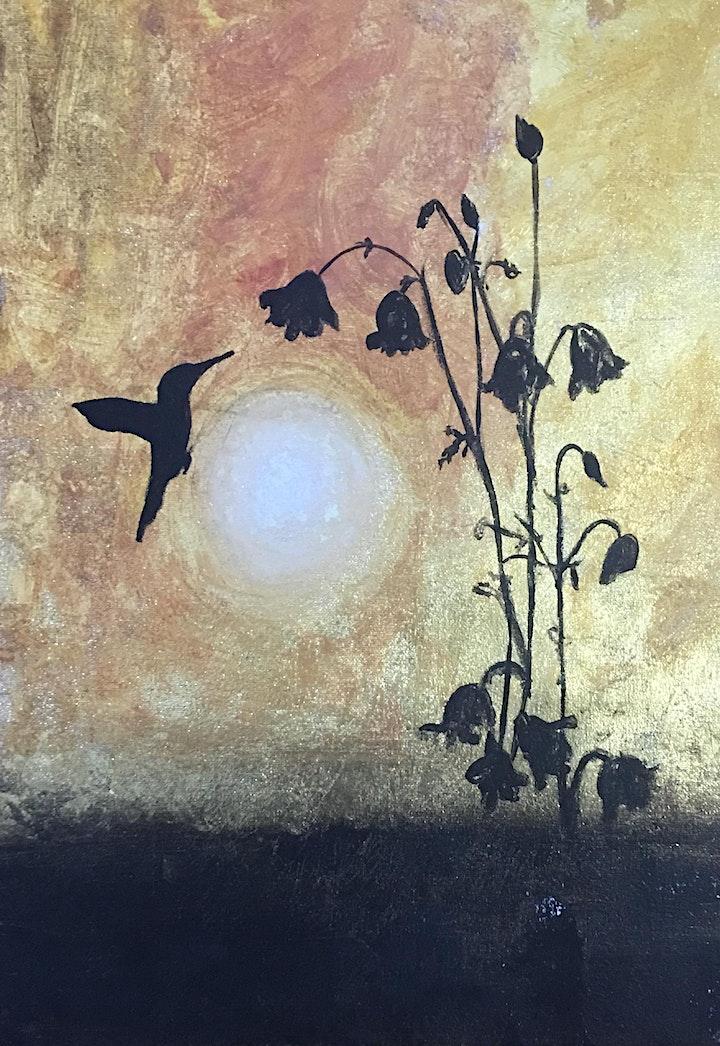 HUMMINGBIRD ON GOLD LEAF CREATE | PAINT | ONLINE image
