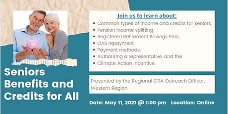 Seniors Benefits and Credits for All: CRA Presentation tickets