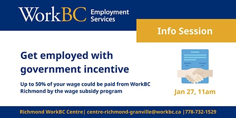 Jan27 WorkBC Wage Subsidy Program: Get Employed with Government's Incentive tickets