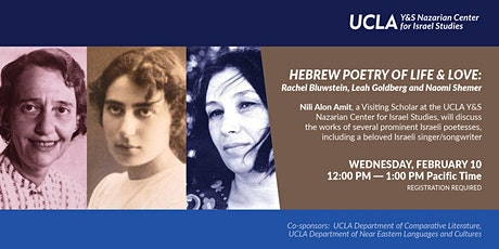 Hebrew Poetry of Life & Love: Rachel Bluwstein, Leah Goldberg, Naomi Shemer tickets