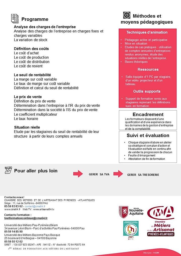 Image pour Stage CALCULER SON COÛT DE REVIENT ET SEUIL DE RENTABILITÉ