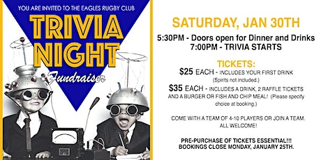 GOLD COAST EAGLES RUGBY CLUB - TRIVIA NIGHT FUNDRAISER tickets