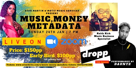Music Money Metadata tickets
