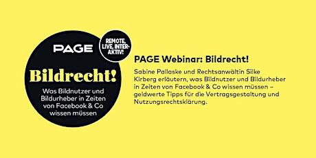 PAGE Webinar »Bildrecht!« mit Sabine Pallaske und Silke Kirberg Tickets