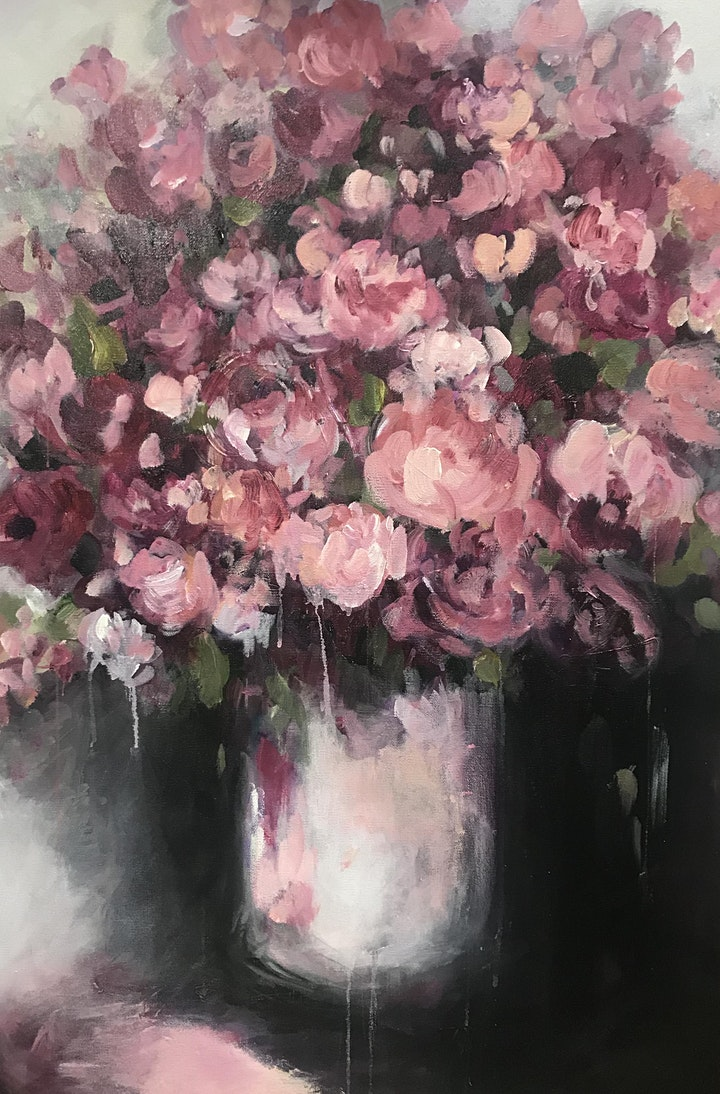 Layers of Pink Flowers Art Class image