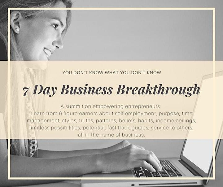 7 DAY BUSINESS BREAKTHROUGH CHALLENGE FREE ONLINE EVENT image