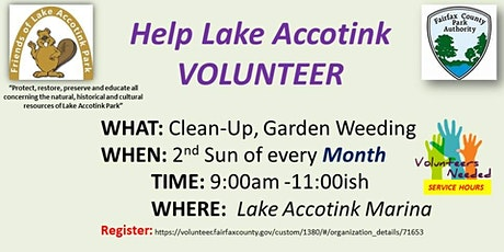 Lake Accotink Park Monthly  Clean-Up and Garden Care tickets
